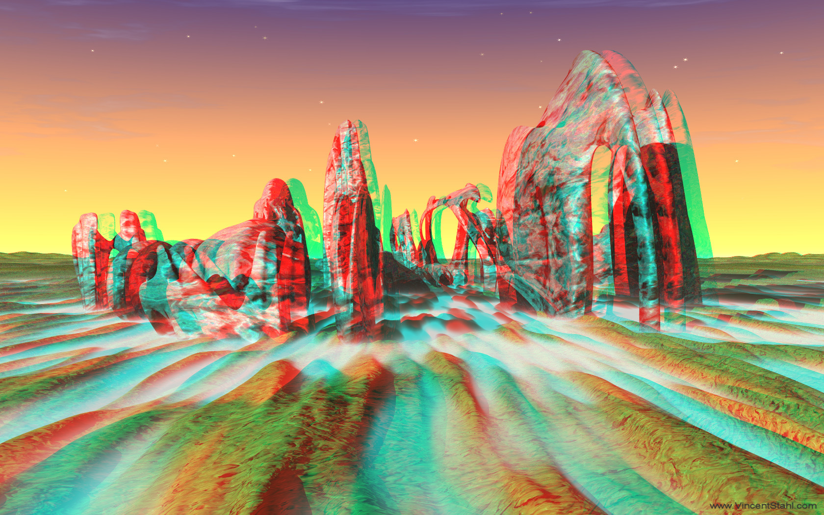 Sleeping Mammoth - 3D stereo anaglyph color