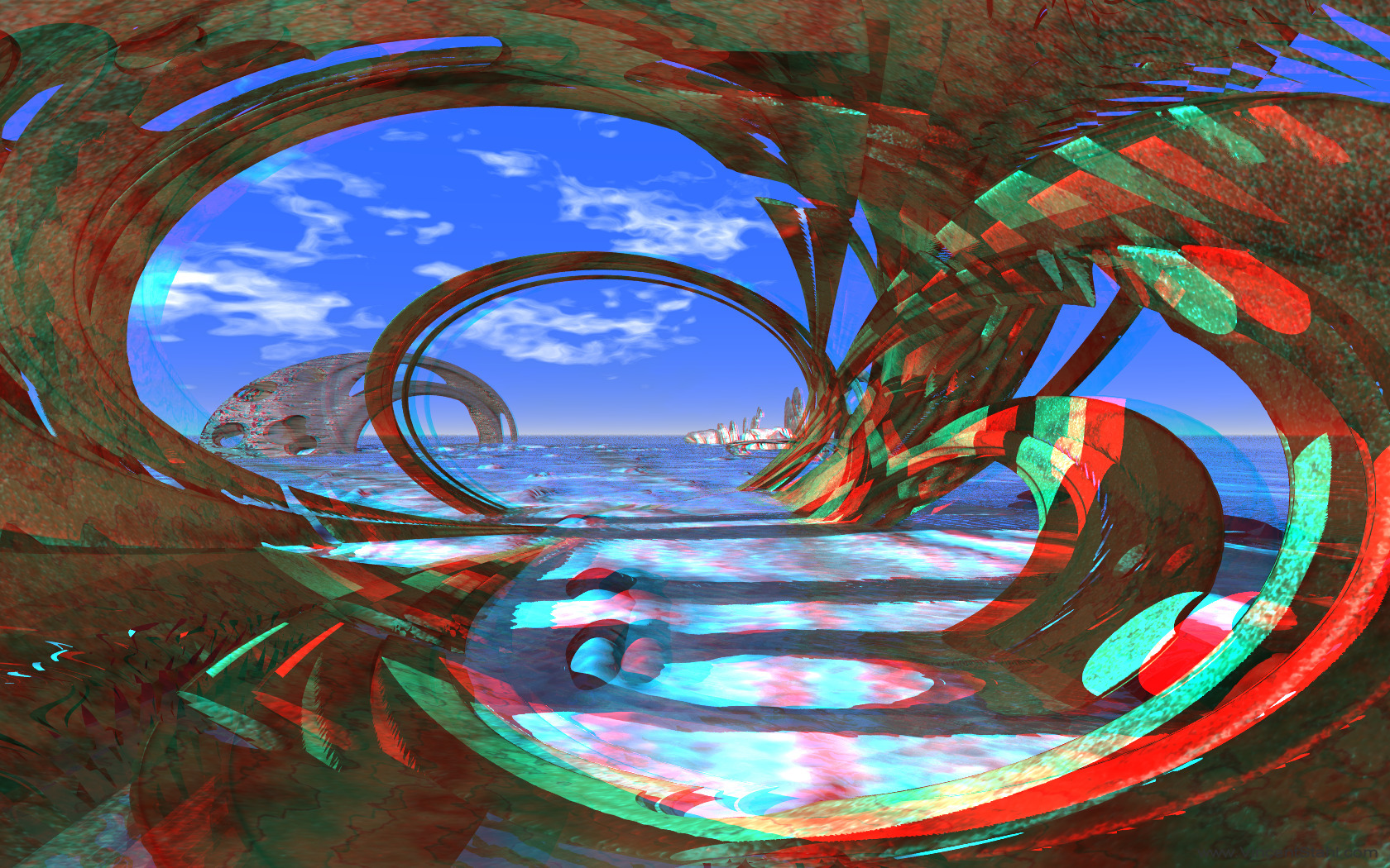 Neolithic Caribbean - 3D stereo anaglyph color