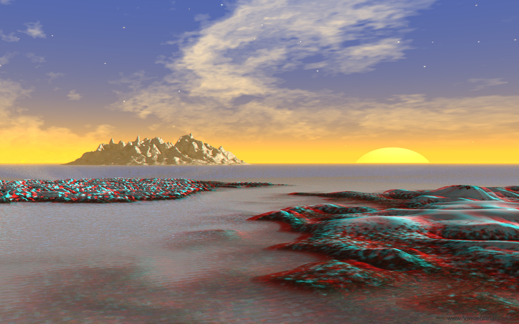 Ice Coast Sunset - 3D stereo anaglyph color