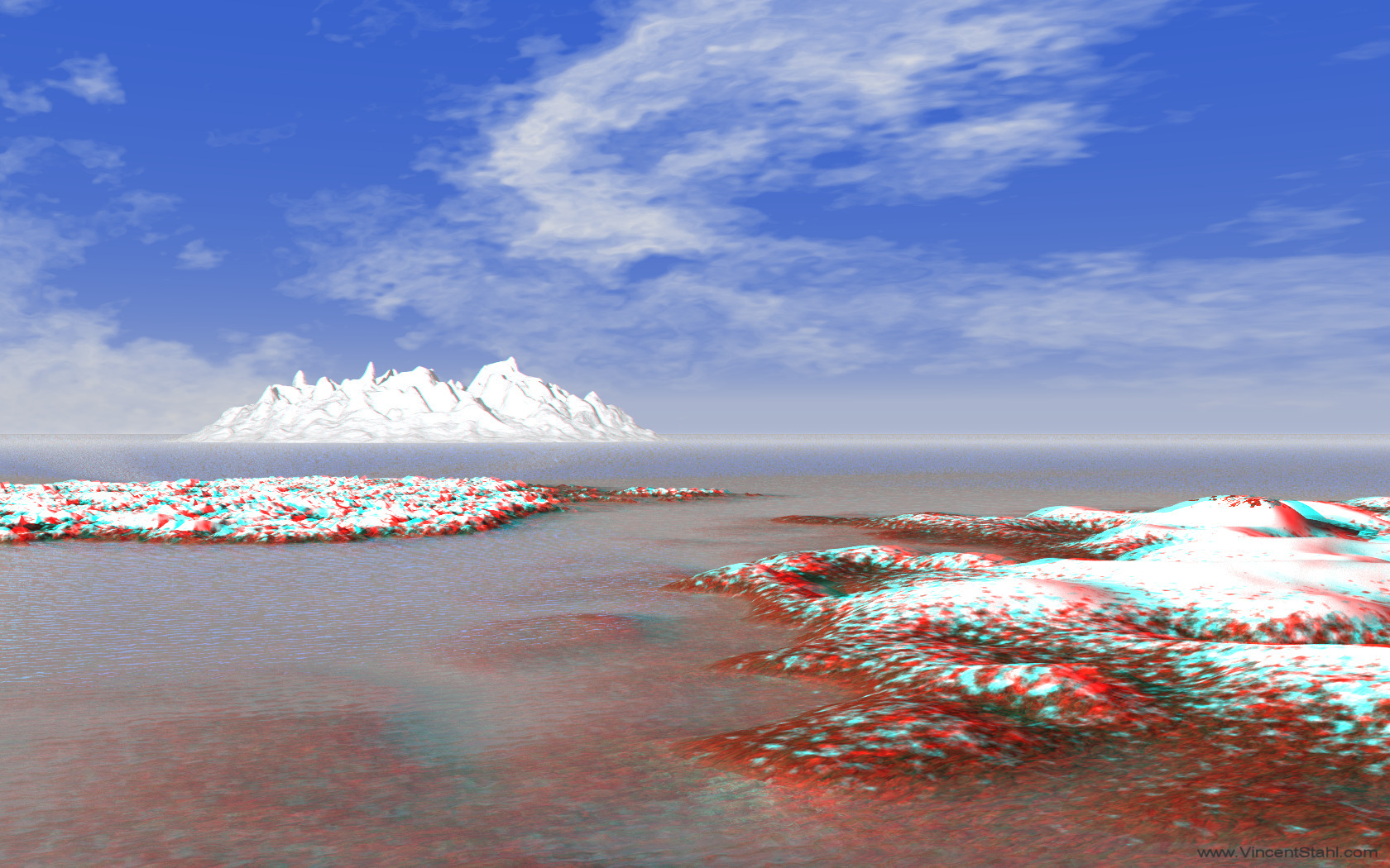 Silent Ice Coast - 3D stereo anaglyph color