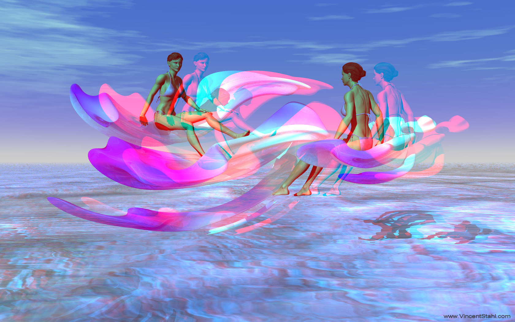 Pink Orchid Elves - 3D stereo anaglyph color