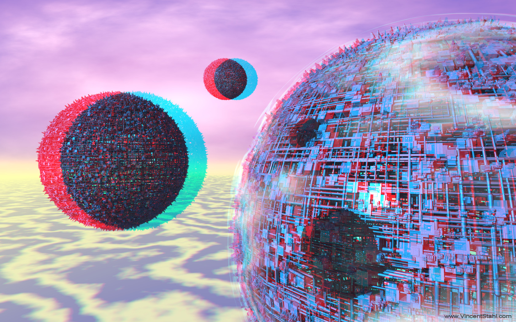 Three Moons - 3D stereo anaglyph color