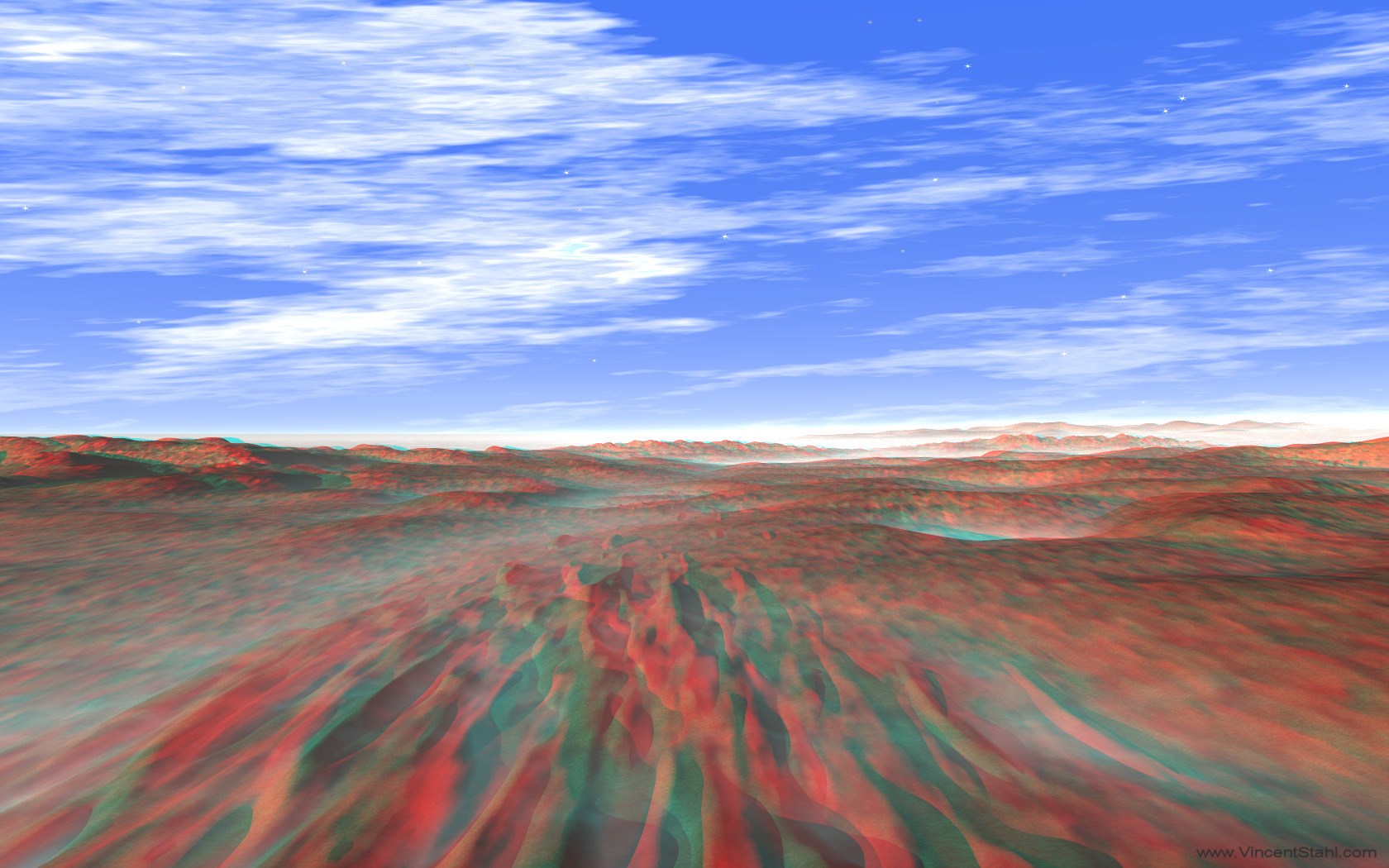 Red Mars Landscape - 3D stereo anaglyph color