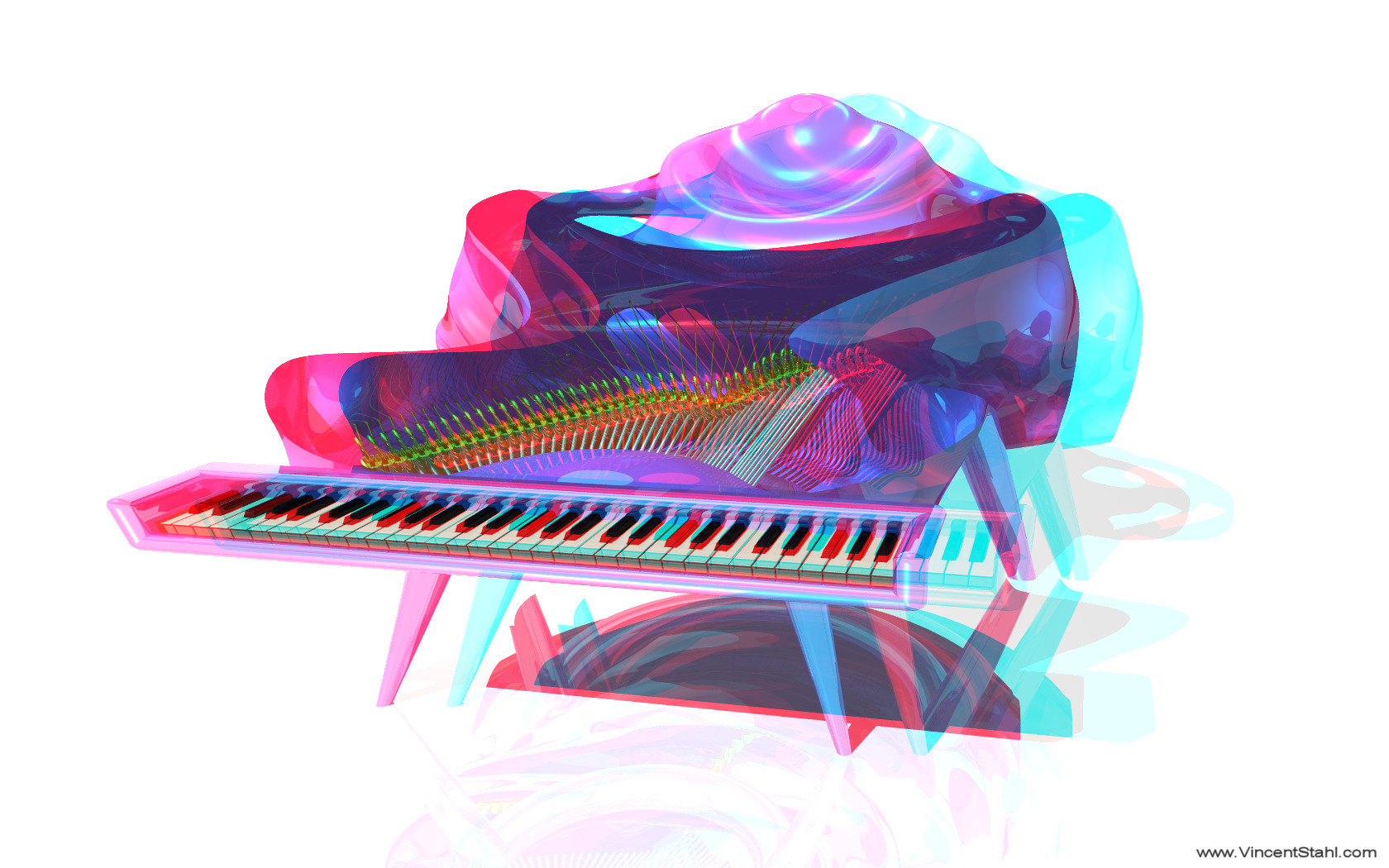 Manta Piano - 3D stereo anaglyph color