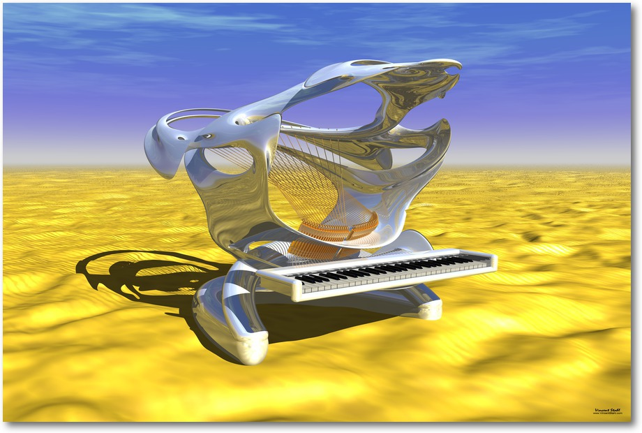 Shark Piano At Desert - Digital artwork