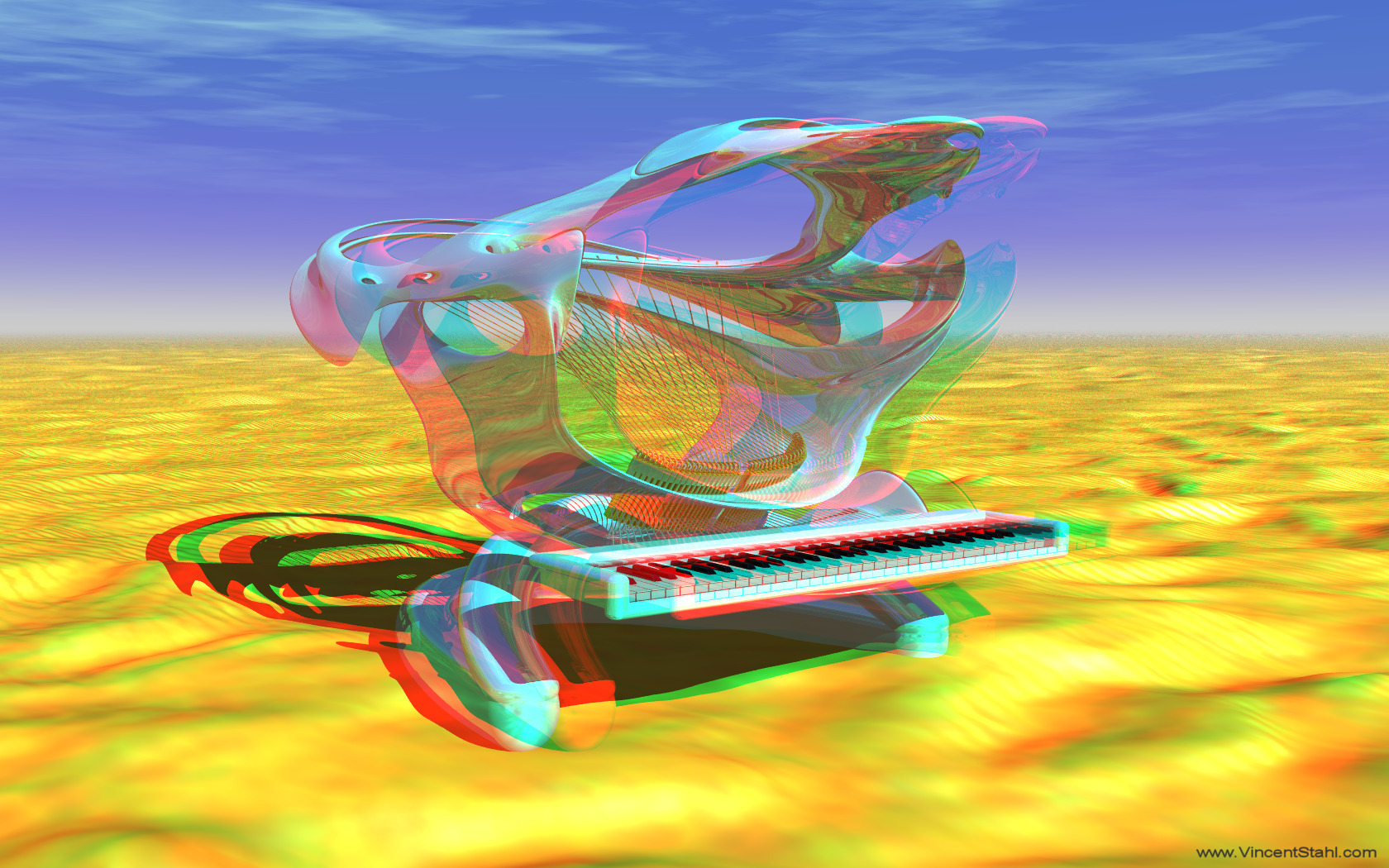 Shark Piano At Desert - 3D stereo anaglyph color