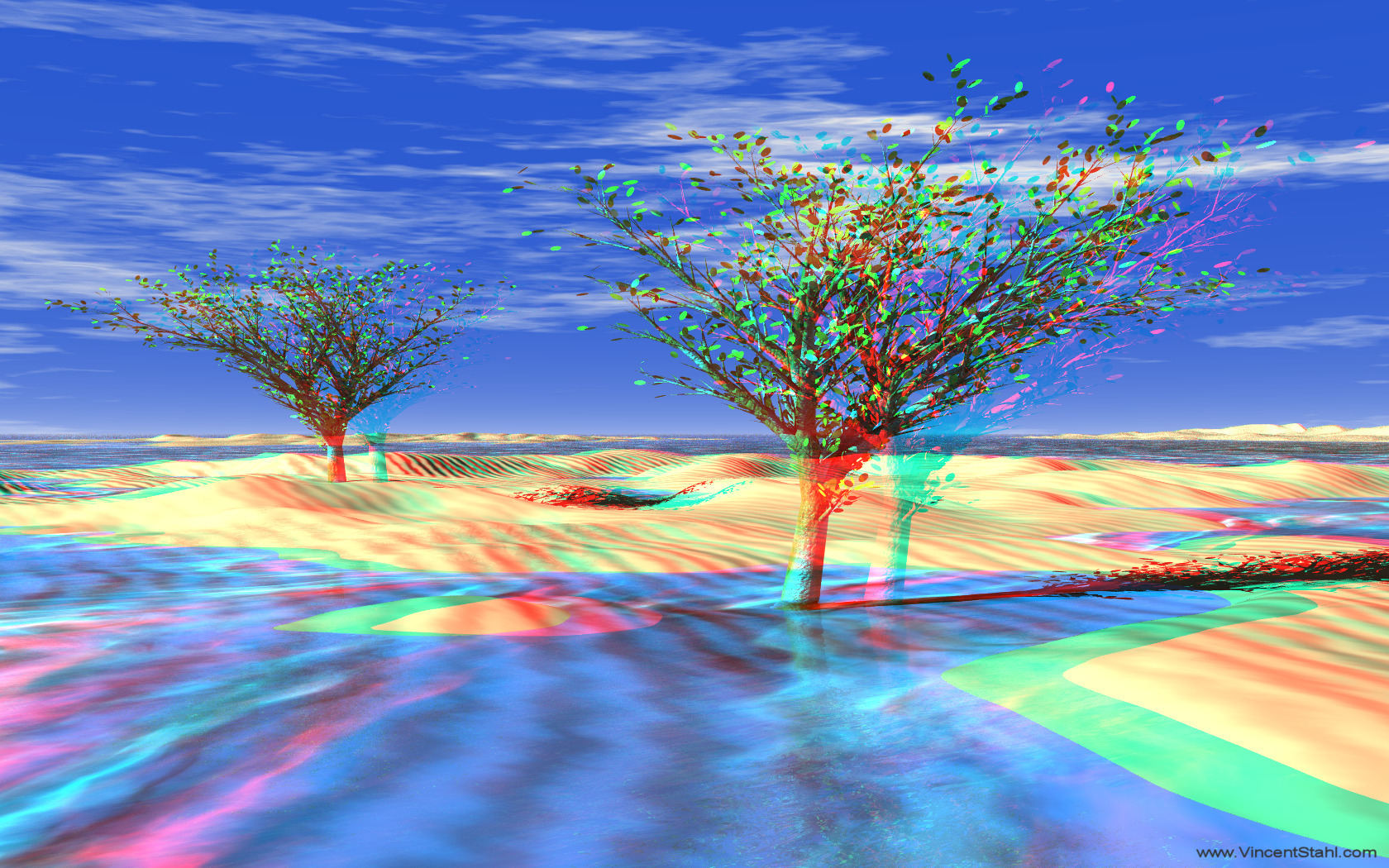 Frozen Desert Trees - 3D stereo anaglyph color
