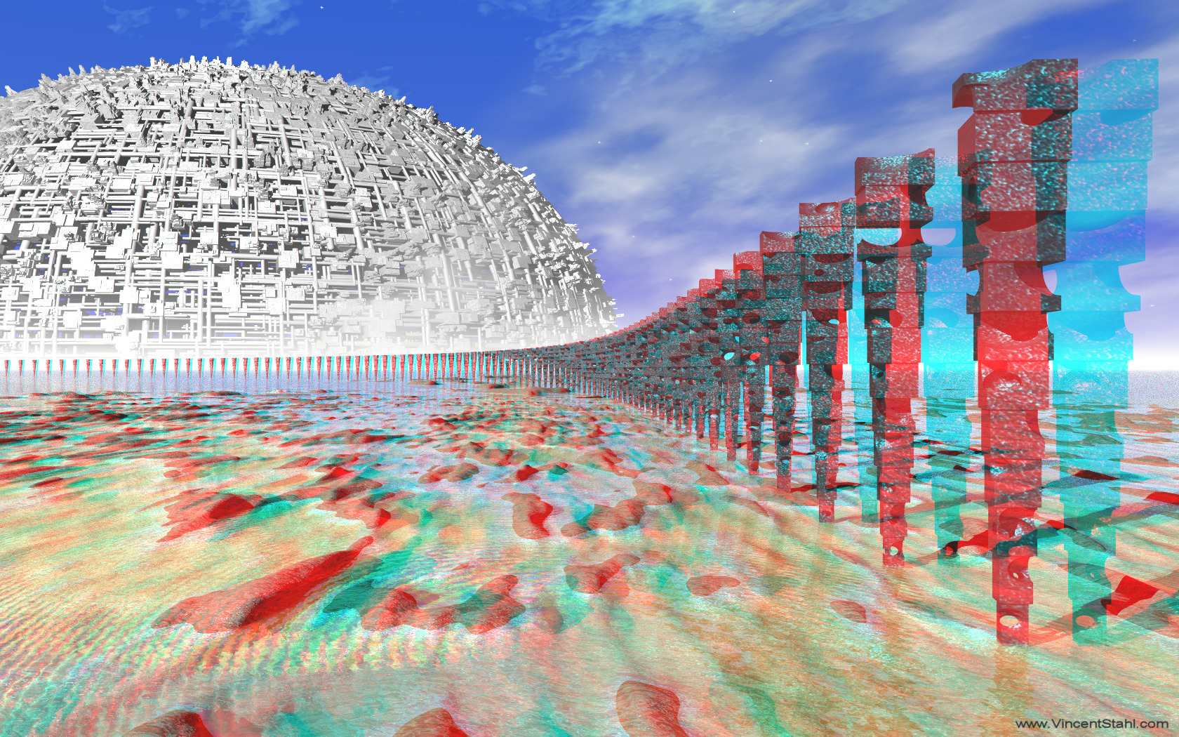 Shallow Water Poles - 3D stereo anaglyph color