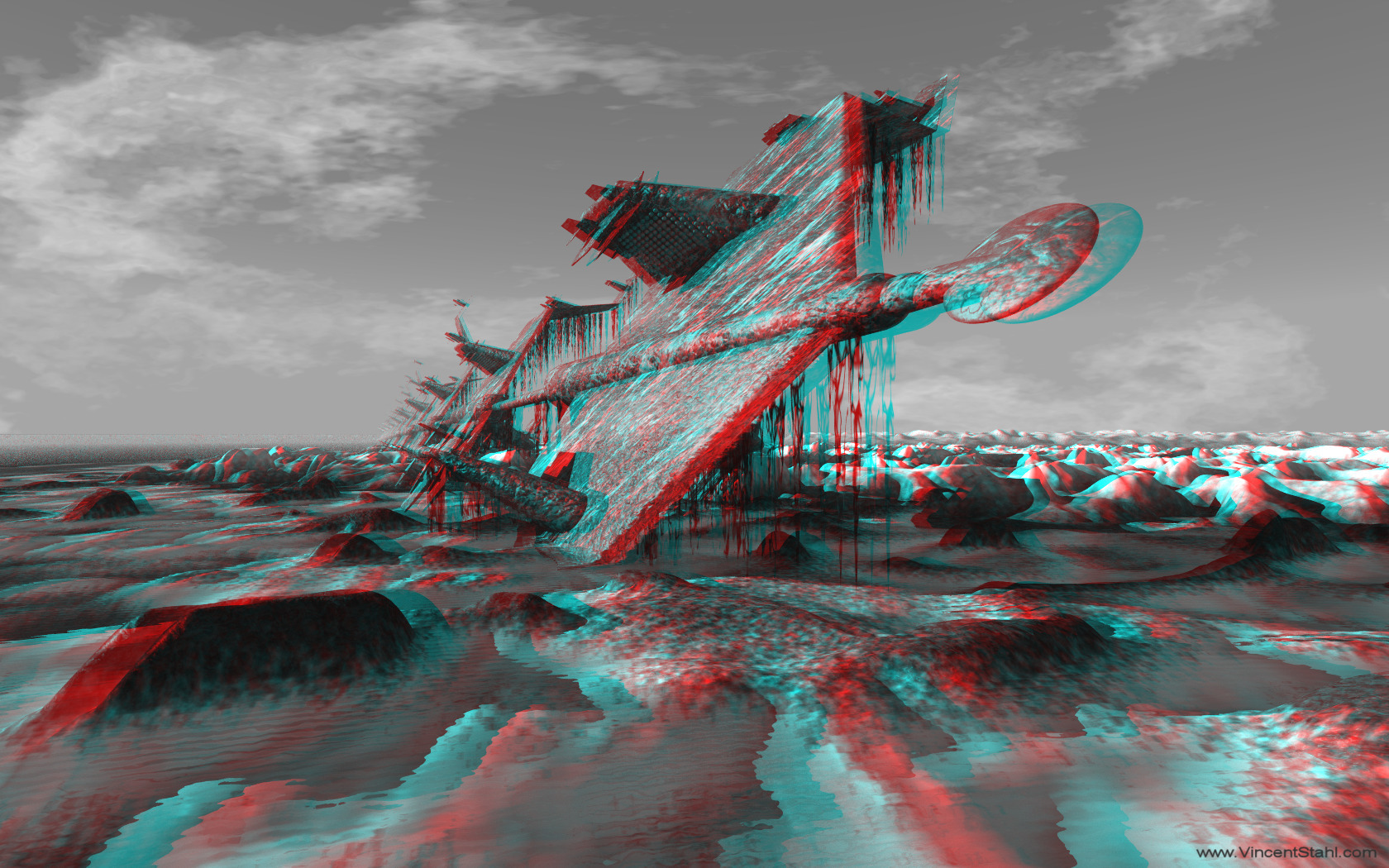 A Frozen Dream - 3D red cyan anaglyph mono