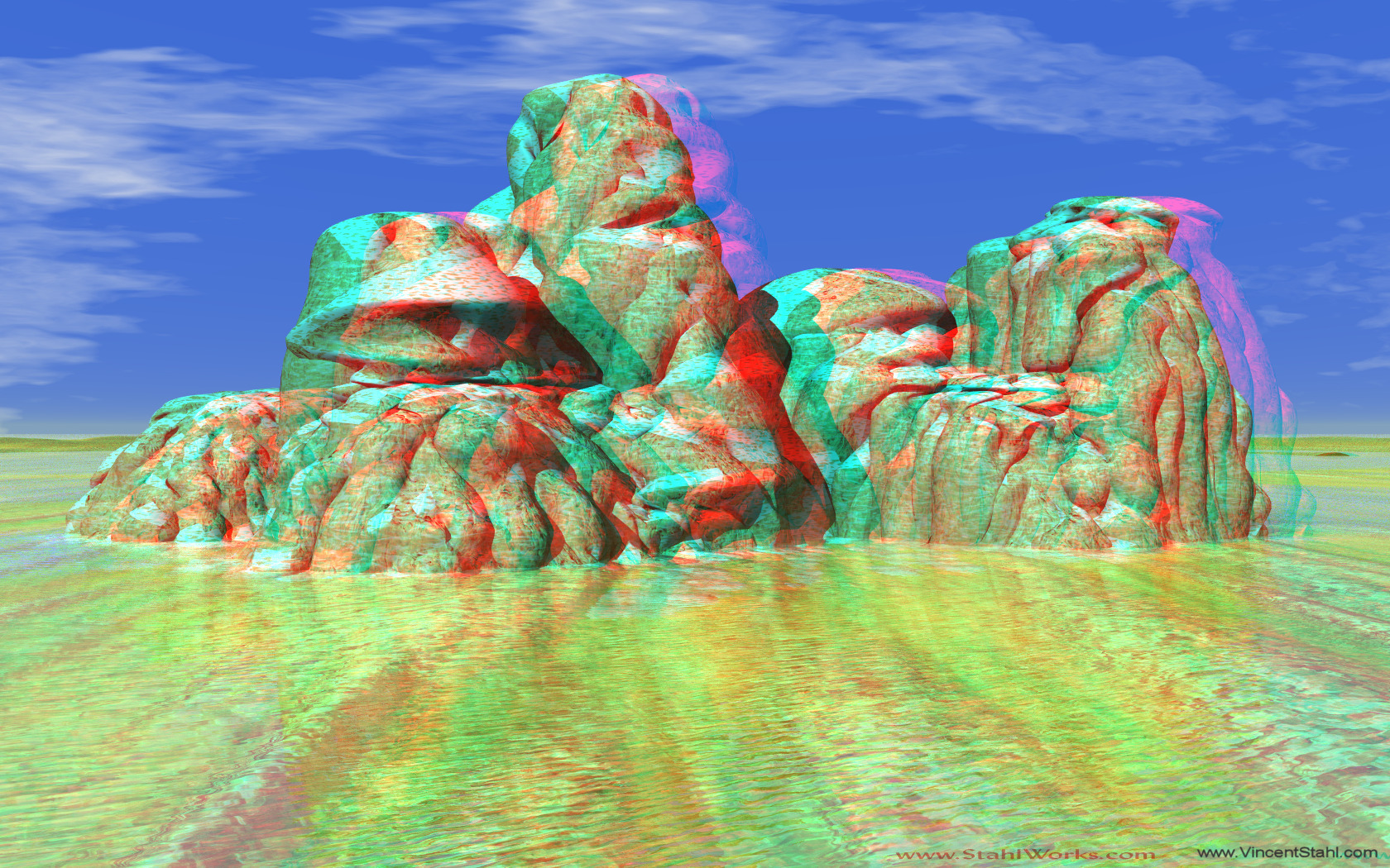 Potato Rocks - 3D stereo anaglyph color