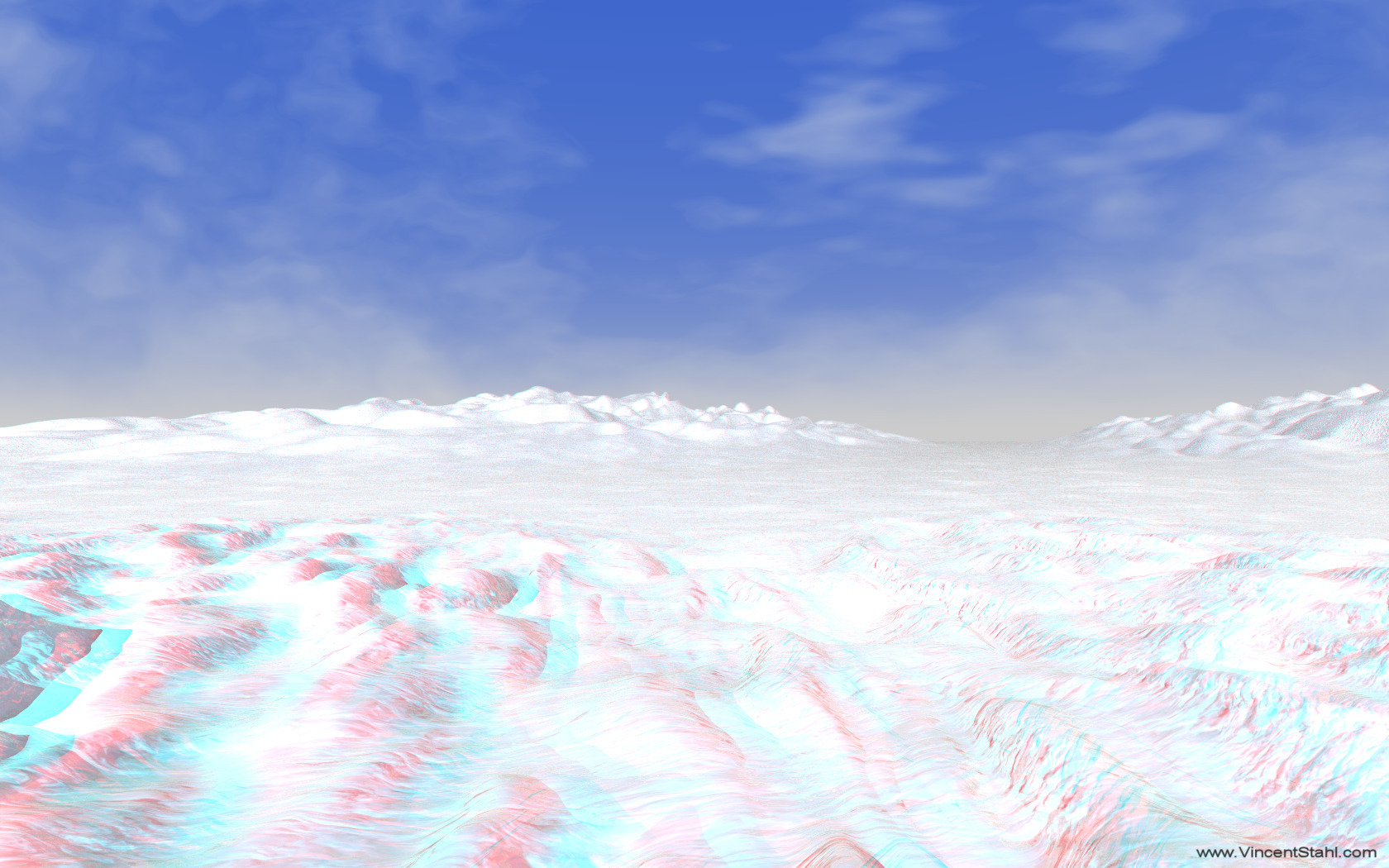 Snow Field - 3D stereo anaglyph color
