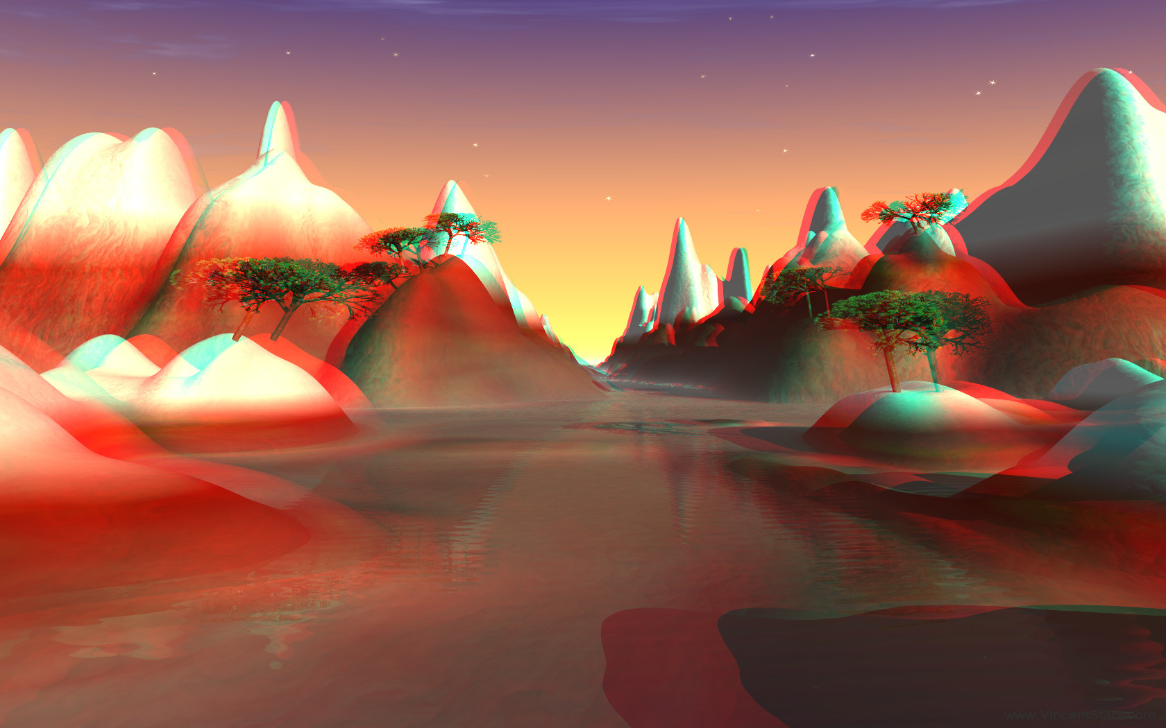 Red Mountain Waters - 3D stereo anaglyph color